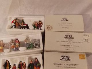 Dept 56 lot of 3 The Heritage Village Collection Christmas Figurines Handpainted Porecelain Accessories