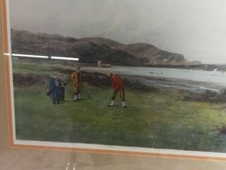 Painted By Douglas Adams  Golfing Scene Offset litho After Douglas Adams