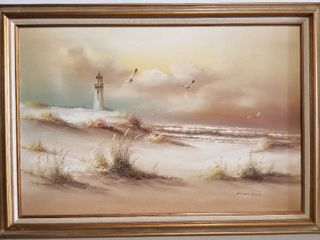 lighthouse And The Beach Painting With Sea Gulls And Waves Painting on Canvas  Framed