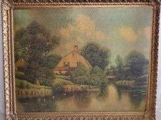 Farmhouse On The River Painting  Wooden Frame