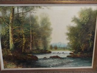 Painted By Carl s Baker A picture Of A River And Trees And A Mountain in The Background