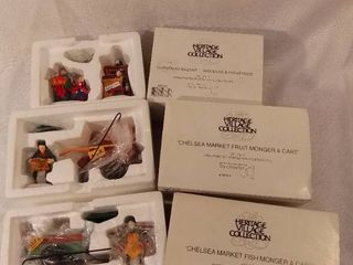 lot of 3 Dept 56 The Heritage Village Collection Christmas Figurines Handpainted Porecelain Accessories