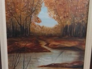 Painted By E l  Hawkins  A Walking Path leads to a creek