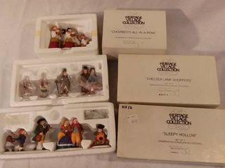 lot of 3 Dept 56 The Heritage Village Collection Christmas Figurines Handpainted Porcelain Accessories
