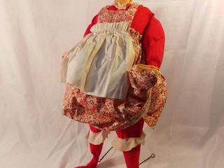 Handmade Hand Painted Mrs Santa Claus Annalee Mobilitee Doll 30 Inches Tall