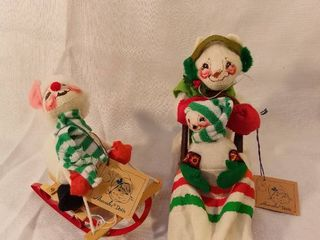 Annalee Doll Society Snow Bunnies Sledding 1988 and 1991