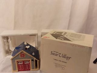 Dept 56 The Heritage Village Collection The Snow Village Single Car Garage Hanpainted Ceramic lights Up