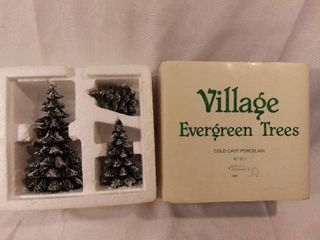 Dept 56 Village Evergreen Trees Cold Cast Porecelain Set of 3