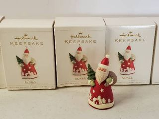 lot of 5  2006 Hallmark Keepsake Christmas Ornament St  Saint Nick Santa Claus   Tree T286