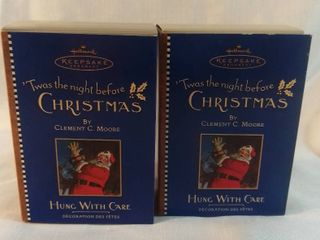 lot of 2 Hallmark Ornament 2001   Twas The Night Before Christmas   Hung With Care