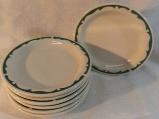 lot of 7 New Stock Buffalo China Crest Green Restaurant Ware Plates