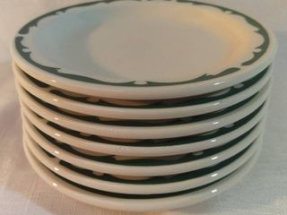 lot of 7 New Stock Buffalo China Crest Green Scroll Restaurant Ware Small Plates
