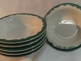 lot of 6 New Stock Buffalo China Crest Green Scroll Restaurant Ware Small Bowls
