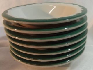 lot of 7 Buffalo China Crest Green Scroll Restaurant Ware Small Bowls