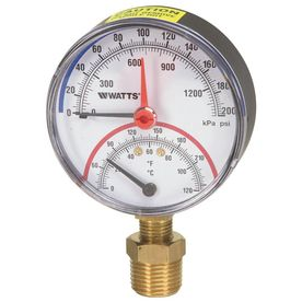 Watts 1 2 in Bottom Entry Pressure and Temperatre Gauge
