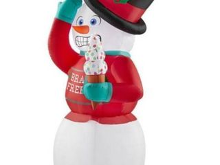 6 ft  Animated Inflatable Shivering Snowman with Ugly Sweater