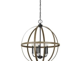 Sea Gull lighting Calhoun 24 in  W 5 light Weathered Gray Rustic Farmhouse Orb Chandelier with Distressed Oak Globe Finish Accents