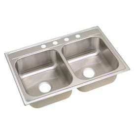 Elkay 33 in x 22 in Satin Double Basin Stainless Steel Drop In 4 Hole Residential Kitchen Sink