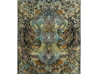 Mohawk Home Prismatic lova Gold Contemporary Abstract Precision Printed Area Rug  5 x8  Brown   Gold