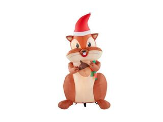 Home Accents Holiday 6 5 ft  Animated Inflatable Nom Nom Chipmunk with Acorn