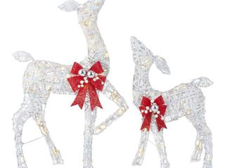 Home Accents Holiday 2 Piece Polar Wishes White lED Deer