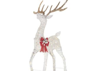 Home Accents Holiday 4 5 ft Polar WIshes lED Deer with Bow