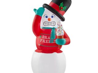 Home Accents Holiday 6 ft  Animated Inflatable Shivering Snowman with Ugly Sweater