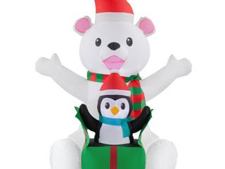 Home Accents Holiday 4 ft  Inflatable Bear with Penguin Scene