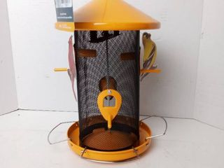 Hanging Bird Feeder Metal Automatic Dispensing 4 lbs Seeds Capacity Yellow