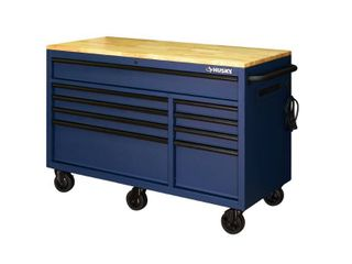 Husky 56 in  9 Drawer Mobile Workbench in Matte Blue  Matte Blue Textured Finish