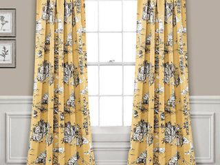 Set of 2 French Country Toile Room Darkening Window Curtain Panels Yellow Gray