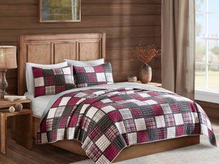 Woolrich Tulsa Full Queen 3 Piece Oversized Plaid Print Cotton Reversible Quilt Set