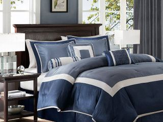 Navy Beverly Polyoni Comforter Set Queen 7pc