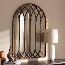 Vintage Antique Bronze Arched Window Wall Mirror by Baxton Studio   Antique Bronze  Retail 424 49