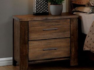Nightstand with 2 Drawers Antique Handle Pulls Sturdy Design   Oak