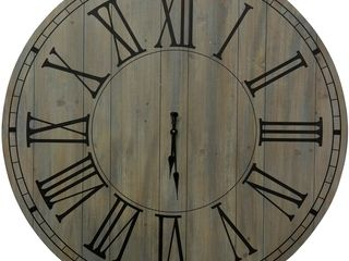 The Gray Barn Natural Wood Round Wall Clock with Painted Panel Retail 326 49