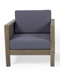 Grey Finish Mix Brown Grey Wicker Cushion Chair  BROKEN WICKER AND BROKEN ARM  can be fixed
