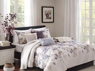 Madison Park Piper Taupe 6 piece Quilted Coverlet Set   Full Queen Retail 96 38