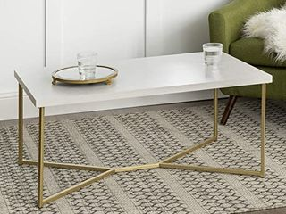 Mid Century Modern Rectangle Coffee Table Marble Gold Retail 96 99