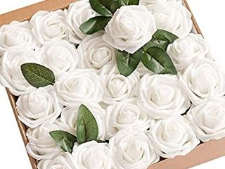 Artificial Flowers 50pcs Real looking White Fake Roses w Stem for DIY Wedding Bouquets Centerpieces Bridal Shower Party Home Decorations