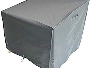 M H Heavy Duty Waterproof Patio large Chair Cover   Outdoor Cover with Padded Handles and Durable Hem Cord   Weather Resistant  Fits Single or Stack  38 x 35 x 31 inch  Taupe