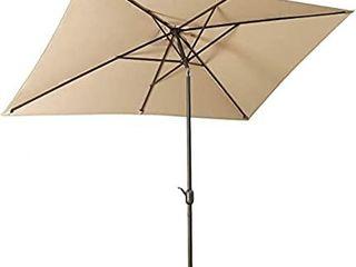 Aok Garden 6 5A10Ft Rectangular patio umbrella Outdoor table umbrella tilt with Push Button and Crank for Deck Pool Market