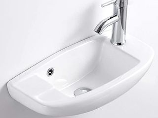 Q Y Bathroom Corner Sink Wall Hung Basin Round Wall Mounted Small Cloakroom Sink Ceramic Modern in White