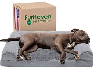 Furhaven Pet   Plush Orthopedic Sofa  Mid Century Dog Bed Frame  Calming Donut Dog Bed
