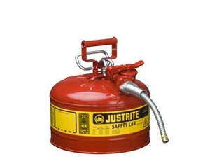 Justrite AccuFlow 7225120 Type II Galvanized Steel Safety Can with 5 8  Flexible Spout  2 5 Gallons Capacity  Red