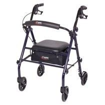 Carex Rollator Walker with Padded Seat  6 inch Wheels  Cushioned Back Support  and Storage Pouch