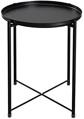 Metal End Table  Sofa Table Small Round Side Tables  Anti Rust and Waterproof Outdoor   Indoor Snack Table  Accent Coffee Table i1 4Hi1 4 20 28  xi1 4Di1 4 16 38  Black