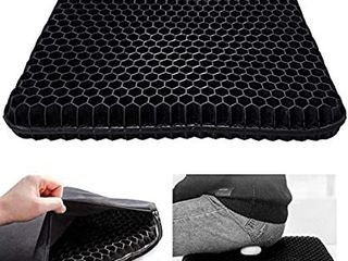 Gel Seat Cushion Double Thick Seat Cushion  Non Slip Cover Help in Relieving Back Pain   Sciatica Pain Gel Chair Cushion for Office Chair Car Wheelchair  Black