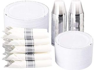 350 Pieces Silver Plastic Plates with Disposable Silverware and Cups