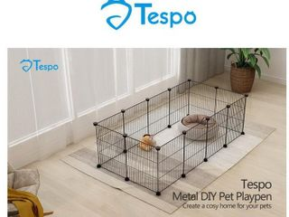 Tespo Pet Playpen Small Animal Cage Indoor Portable Metal Wire Fence